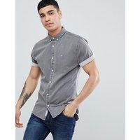 River Island Muscle Fit Denim Shirt In Grey Wash - Grey