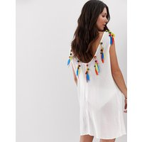 Anmol Low Back Beach Kaftan With Faux Feather and Pom Trim - White