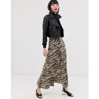 ASOS DESIGN button front maxi skirt in tiger print