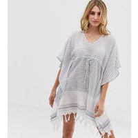 Akasa Stripe Beach Kaftan - White/blue Stripe