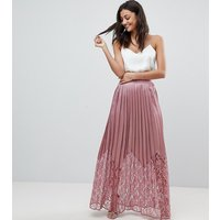 Little Mistress Tall Lace Pleated Maxi Skirt - Rose