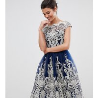 Chi Chi London Premium Metallic Lace Midi Prom Dress with Bardot Neck - Navy/ cream