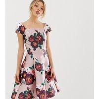 Chi Chi London Petite midi dress in dusty floral print - Dusky pink multi