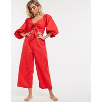Charlie Holiday beach blouson tie front crop co-ord with culottes in red - Red