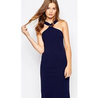 Twin SisterTwin Sister Midi Pencil Dress with Square Neck - Navy