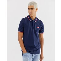 Levi's modern tipped pique polo batwing patch logo in navy - Hm patch dress blues