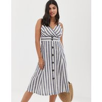 QED London button front midi dress in natural stripe - Chambray stripe