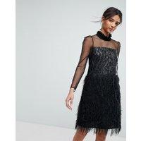 Tresophie Jaquard Metallic Dress With Fringing Dress - Black