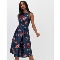 Chi Chi London midi dress in navy floral
