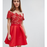 Little Mistress Petite Lace Top Mini Prom Dress - Red