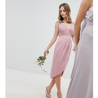 TFNC Petite Wrap Embellished Midi Bridesmaid Dress