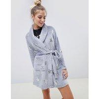 Brave Soul grey stars dressing gown - Grey