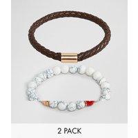 ALDO faux leather & white beaded bracelet in 2 pack - White