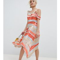 Lost Ink Petite Midi Dress With Tie Waist In Tropical Mix And Match Print