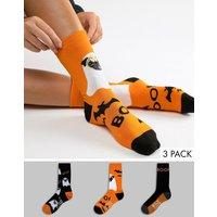 Sock Shop 3 Pack Ghost Pug Crew Socks - Orange