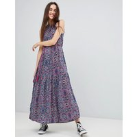 Brave Soul Marlin High Neck Maxi Dress With Tassle Tie - Blue Multi