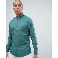 Camisa azul de corte slim con cuello abotonado de ASOS DESIGN