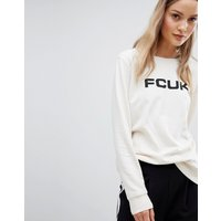 French Connection FCUK Print Sweatshirt - Classic crm/blk font