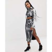 Ivy Park Sequin Pencil Skirt - Silver