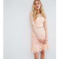 True Decadence TallTrue Decadence Tall Allover Premium Lace Skater Dress With Fluted Hem - Peach