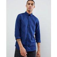 Tommy Hilfiger textured Dobby slim fit shirt flag logo buttondown in dark blue - Medieval blue