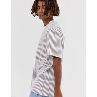 Brooklyn Supply Co relaxed t-shirt with vertical red stripes in white - Red white