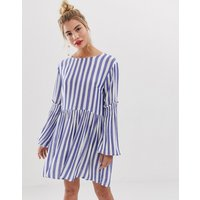 Yumi stripe dress with balloon sleeve detail - Blue