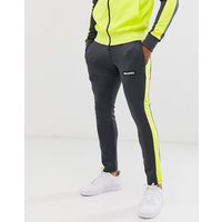 Night Addict neon panel zip thru tracksuit joggers - Grey yellow
