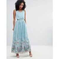 Uttam BoutiqueUttam Boutique Scenic Print Pleated Maxi Dress - Blue