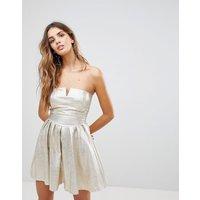 Wal GWal G Bandeau Dress in Metallic - Gold