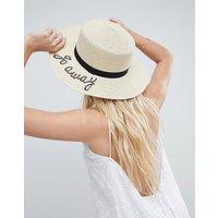 Sombrero canotié con ajustador de talla y eslogan Go Away de ASOS