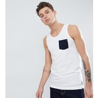 French Connection Tall Contrast Pocket Vest - White/marine