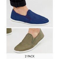 Truffle Collection two pack slip on plimsolls in khaki and navy - Multi