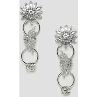Asos Design Earrings With Linked Jewel Brooch Design In Silver - Silver