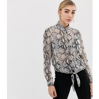 Miss Selfridge shirt with tie front in snake print - Grey