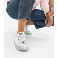 Converse X Miley Cyrus Chuck Taylor All Star Low Trainers White And Silver Glitter - White