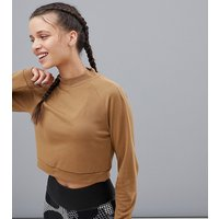 Adidas Training High Neck Long Sleeve Crop Top In Beige