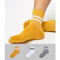 Pack de 3 pares de calcetines de rayas de ASOS DESIGN