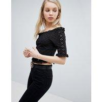 New Look Broderie Bardot Top - Black