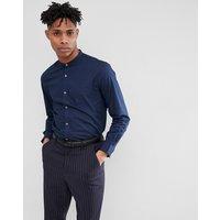 French Connection Plain Poplin Grandad Slim fit Shirt - Marine