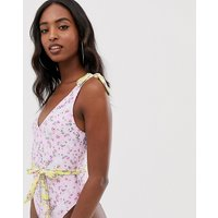 Asos Design Tall Recycled Tie Shoulder Belted Swimsuit In Pretty Pastel Floral Print - Pretty Pastel Floral