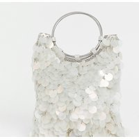 Accessorize Embellished Mermaid Sequin Clutch Bag With Ring Handle Detail
