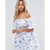 ASOS CurveASOS CURVE Off Shoulder Mini Dress In Floral Print - Blue floral