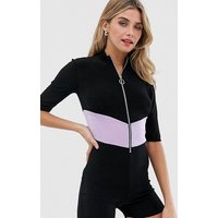 Another Reason unitard with chevron contrast panel - Black