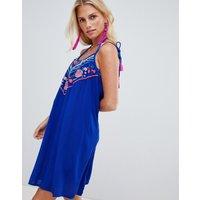 Accessorize Dreamweaver Embroidered Beach Dress Blue - Blue