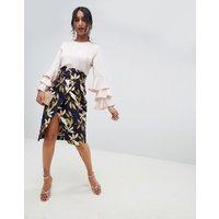 ASOS DESIGN bird jacquard pencil skirt with self belt - Multi
