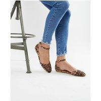 ASOS DESIGN Linton Square Toe Ballet Flats in leopard - Leopard