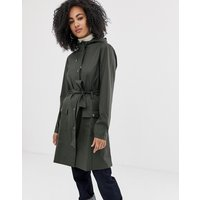Rains waterproof long curve jacket with tie belt - Green
