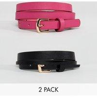 Pack de 2 cinturones en rosa intenso y negro de ASOS
