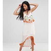 Glamorous PetiteGlamorous Petite Embroidered Midi Dress - Multi